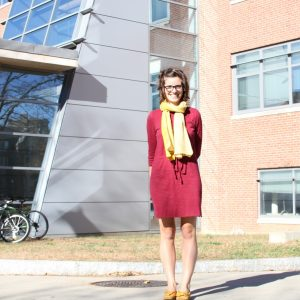 Alessia Satterfield outside of UConn CLAS building