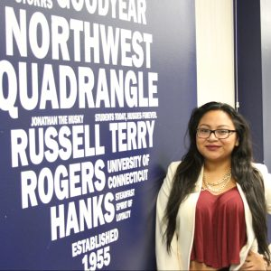Niimo Nix next to Northwest Quad sign