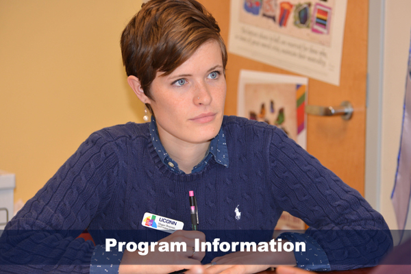 Female student looking intently during a discussion.  Photo on text reads PROGRAM INFORMATION
