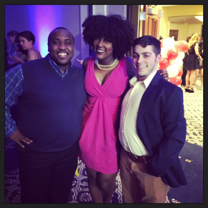 Louis with two of his best friends and fellow HESAs, Mike Malenfant and Aisha Folkes, celebrating at UConn's 2016 Grad Prom.