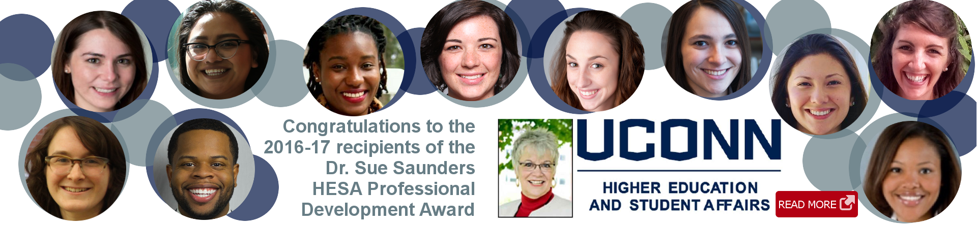 Head shots of award winners surrounding Sue Saunders photo and text
