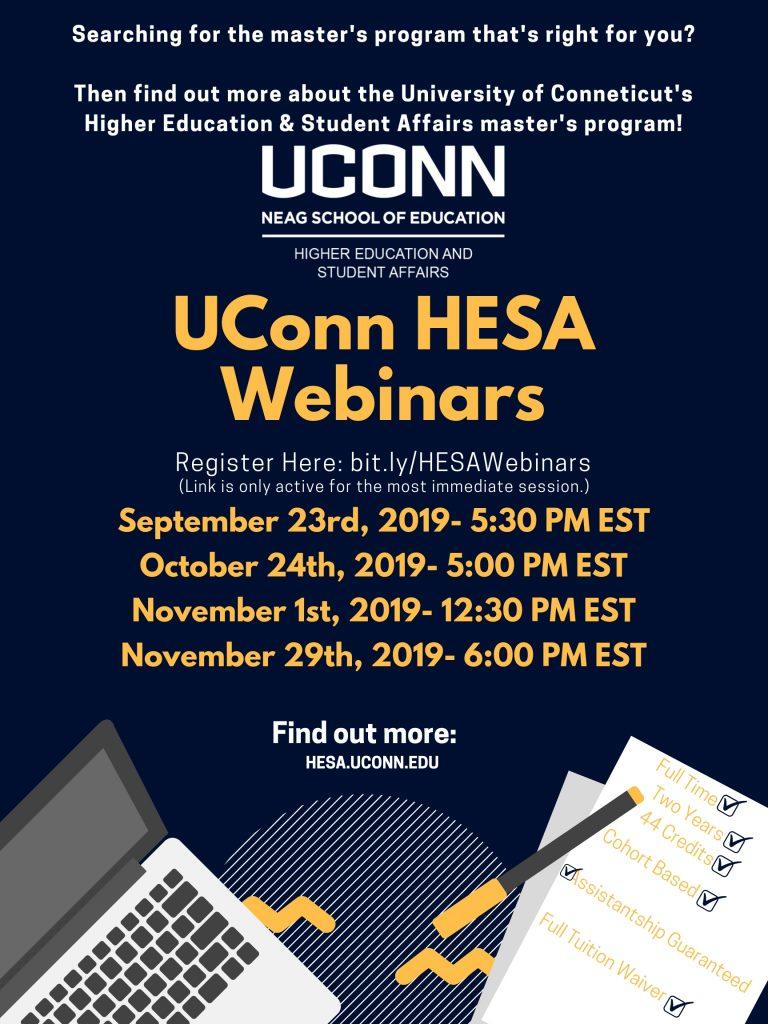 UConn HESA Webinar Dates & Times Registration Flyer